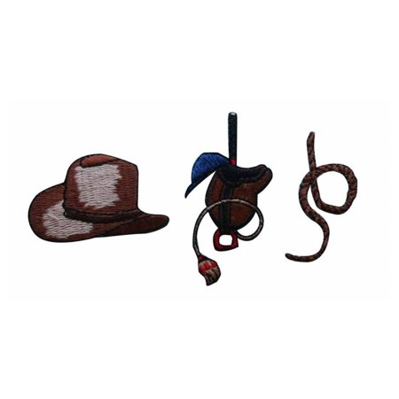 ID 1373ABC Set of 3 Cowboy Gear Patches Western Embroidered Iron On (Weston Gear)