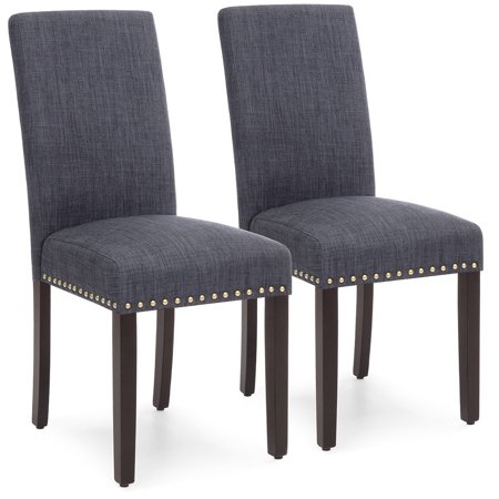 Best Choice Products Set of 2 Upholstered Fabric High Back Parsons Accent Dining Chairs for Dining Room, Kitchen w/ Wood Legs, High Density Foam Padding, Nail Head Stud Trim - Gray ()
