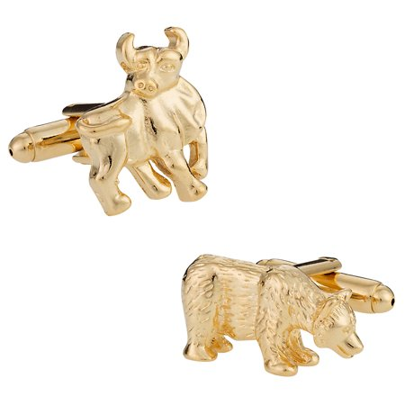 Finance Gold Bull and Bear Stock Broker Cufflinks with Presentation (Bull Bear Cufflinks)