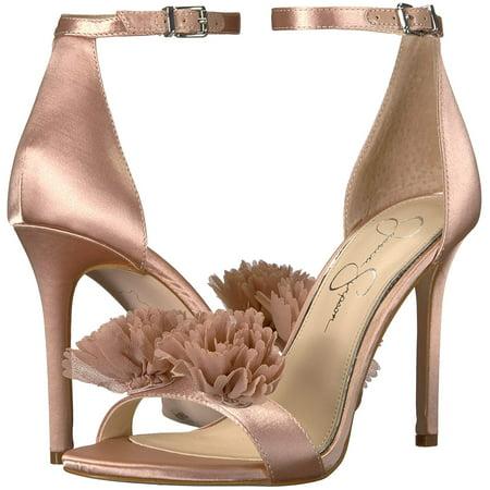 Jessica Simpson Women's JEENA Heeled Sandal Nude Blush Satin Sandals