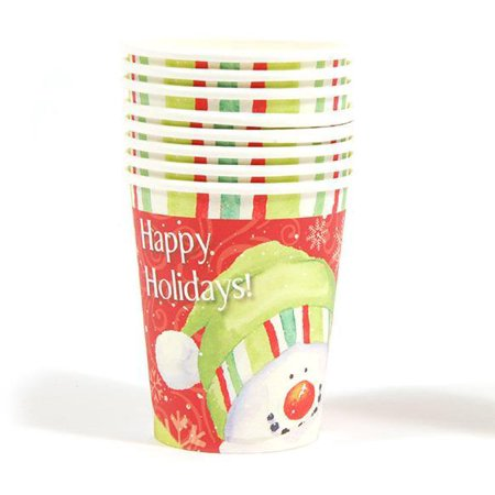Happy Holidays Snowman Printed Cups - CASE OF 36 - Snowman Out Of Cups