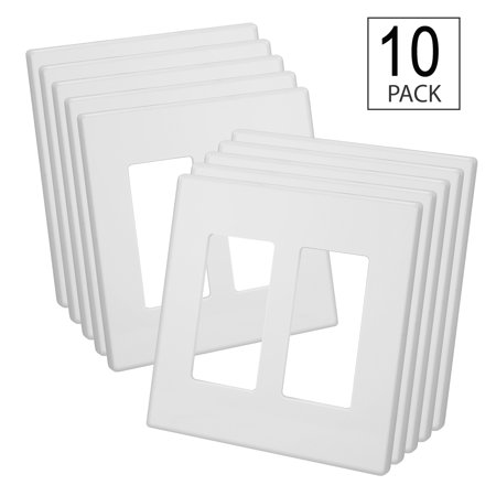 10 Pack - 2-Gang Screwless Wallplate - UL Listed - Snap-On Mount, White