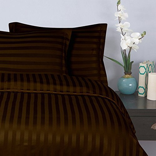 "Elegant Comfort® Wrinkle & Fade Resistant 1500 Thread Count - Damask STRIPES  Silky Soft 4-Piece Sheet Set, Up To 16"" Deep Pocket, Queen, Chocolate Brown"