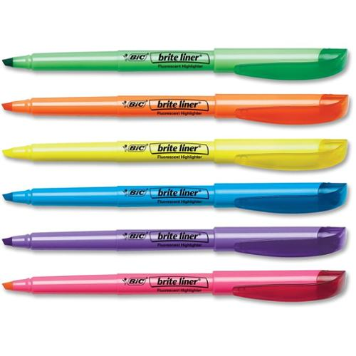 BIC Brite Liner Highlighter, Chisel Tip, Assorted Colors, 1-Dozen