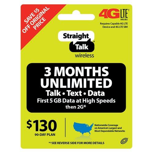 Straight Talk Wireless $130 90-Day Unlimited Plan Prepaid Phone Card