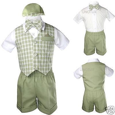 Silver Gingham Baby Boy Infant Toddler Formal Party Vest Suit Shorts sz S-XL2-4T