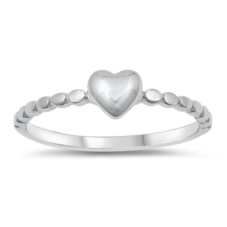 Wide Puffed Heart - Puffed Heart Purity Promise Beaded Ring New .925 Sterling Silver Band Size 3