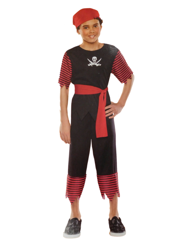 Boys Scallywag Pirate Halloween Costume Top Pants Belt Headpiece Sticker by