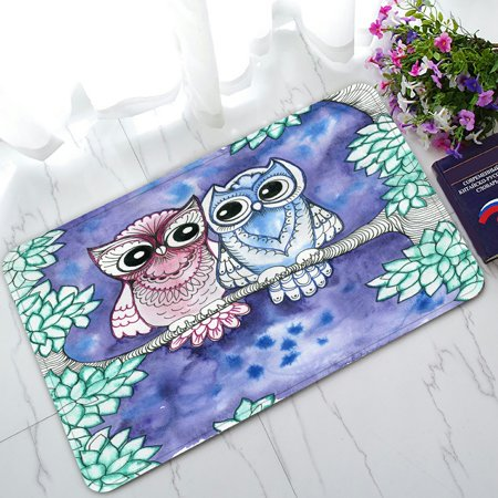 PHFZK Animal Doormat, Cute Owls on Tree Doormat Outdoors/Indoor Doormat Home Floor Mats Rugs Size 30x18 inches