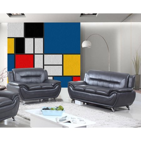 US Livings Anika Faux Leather Modern Sofa and Loveseat