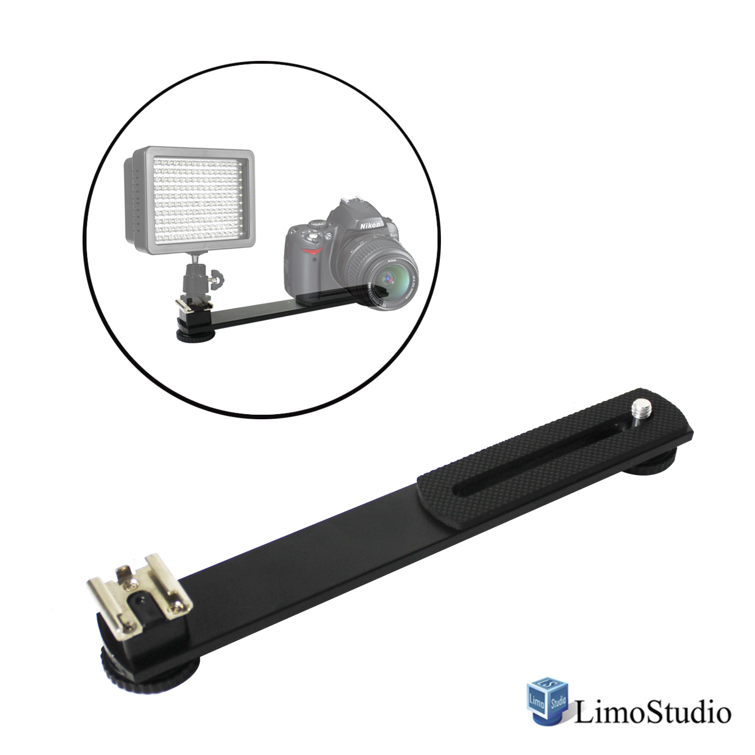 "Loadstone Studio 7.5 inch Straight Camera Flash Bracket 1/4""-20 Screw Hot Shoe Mount for Video Lights, Microphone, Monitor and Camera Accessories, WMLS4474"