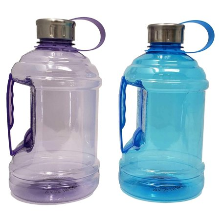 Sports Water Bottle Jug 33 oz / 1 L with Carrying Handle, Leak Proof, Nonporous Glass Like Material for Hiking Workout Office Home | 0.26 Gallon | BPA Phthalate Free-Assorted Colors,Drink More Water!