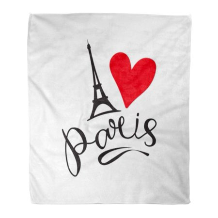 Black White Flyer Design - ASHLEIGH Throw Blanket 58x80 Inches Black Heart Paris Lettering and Eiffer Tower Modern Calligraphy Brush Ink Design Flyers White Black Love Warm Flannel Soft Blanket for Couch Sofa Bed
