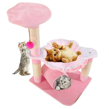 "Ktaxon 28"" Pet Club Cat Tree Condo House Scratcher Furniture with Hammock Toy 3 Colors"
