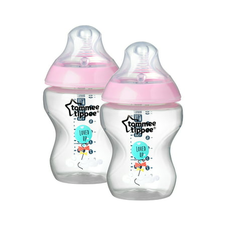 Tommee Tippee Closer to Nature Decorated Baby Bottle, Girl – 9 Ounces, Pink, 2 Count