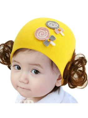 Fysho Toddler Kids Baby Girl Cute Wig Design Winter Warm Hat Cap Headwear, Cartoon Double Lollipops