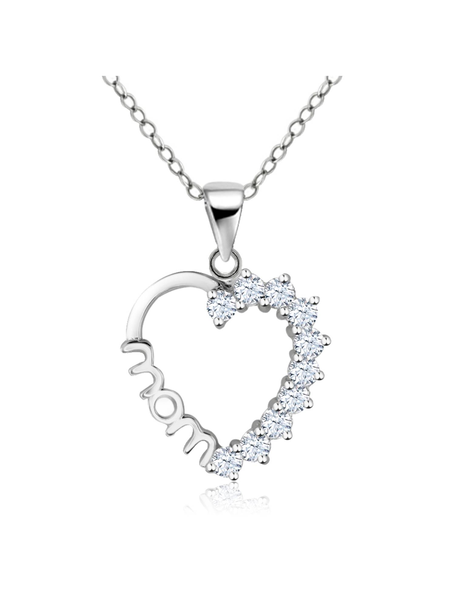 """Sterling Silver Created White Sapphire Heart MOM Pendant on 18"""" Chain"""