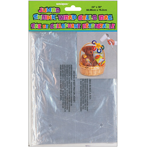 "Jumbo Shrink Wrap Cellophane Bag, 24"" x 30"", Shrinks to 10.5"" x 6.5"""