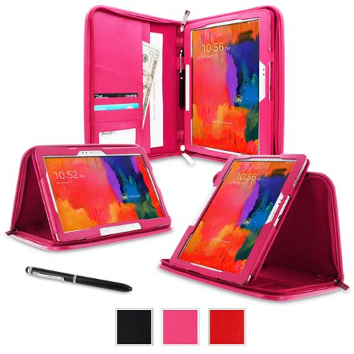 Galaxy Tab Pro 10.1 Case, rooCASE Executive Portfolio Leather Case Cover for Samsung Galaxy Tab Pro / Note 10.1 2014 ed,MAGENTA (With Auto Wake /