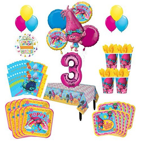 Trolls Poppy 3rd Birthday Party Supplies 16 Guest Kit and Balloon Bouquet Decorations 95 pc - Peacock Birthday Decorations