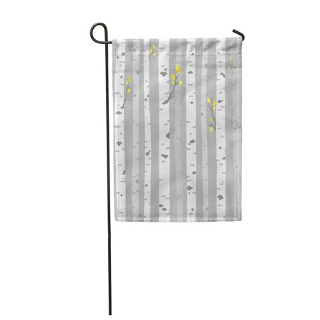 SIDONKU Abstract Aspen Birch Grove Tree Trunks on Gray Simple Garden Flag Decorative Flag House Banner 28x40 inch