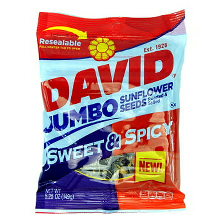 Flavored Sunflower Seeds (Product Of David, Sunflower Seeds Jumbo Sweet & Spicy , Count 12 (5.25 oz) - Sunflower Seeds / Grab Varieties & Flavors )
