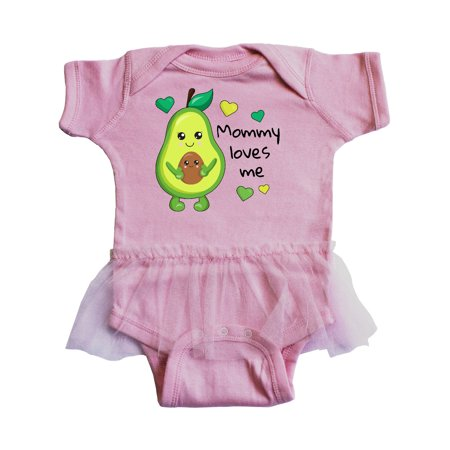 Mommy Loves Me with Avocado Baby and Green Hearts Infant Tutu Bodysuit