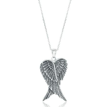 "Beaux Bijoux Sterling Silver Double Angel Wings Heart Pendant with 18"" Chain"
