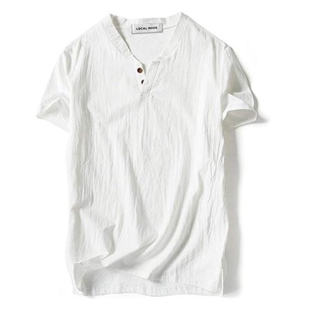 Summer Men Baggy T Shirt Cotton Linen Tee Hippie Shirts Short Sleeve Casual Loose Tops Cotton Hippie Shirt