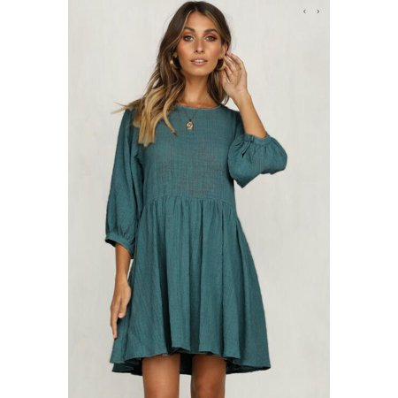 85be578e9d5b Linen Pleated Dress Female Elegant Beach Party Dresses Spring Summer Dress  Women Middle sleeve Round Neck