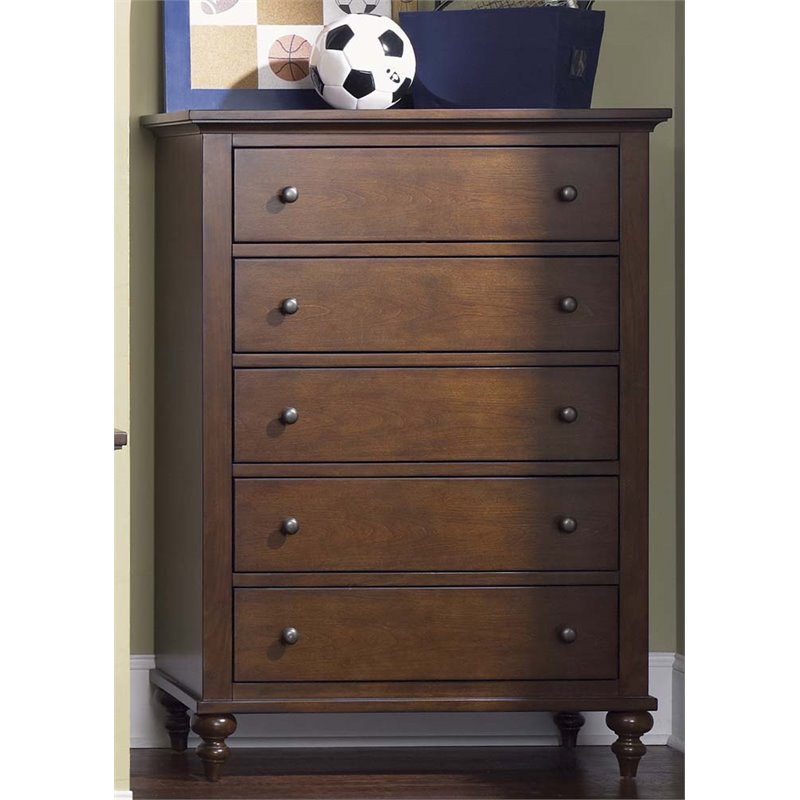Liberty Furniture Abbott Ridge 5 Drawer Chest in Cinnamon