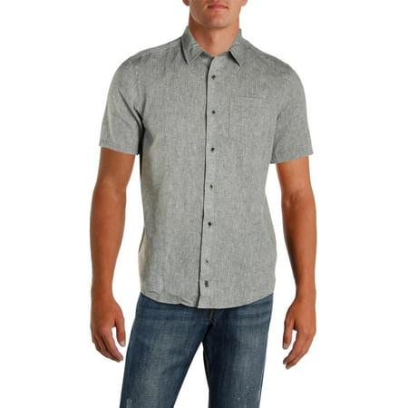 IKE By Ike Behar Mens Linen Woven Button-Down Shirt Barba Napoli Linen Shirt