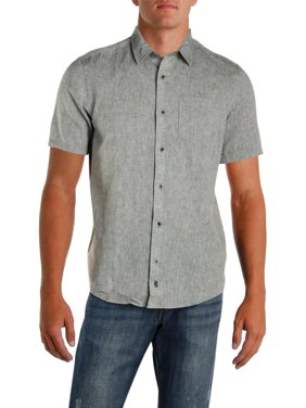 ab0c53097 Product Image IKE By Ike Behar Mens Linen Woven Button-Down Shirt. Product  Variants Selector. Black