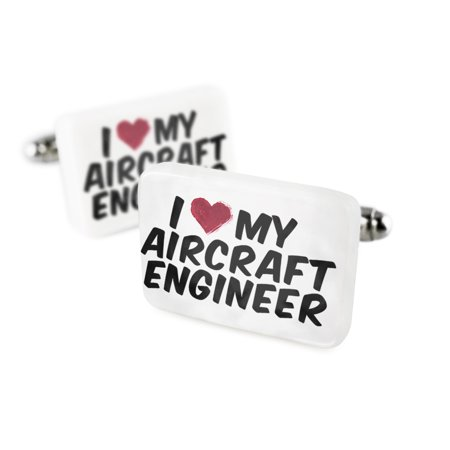 Cufflinks I Heart Love My Aircraft Engineer Porcelain Ceramic Neonblond