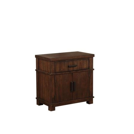 Benzara BM207479 Wooden Nightstand with 2 Doors & Metal Handle Hardware, Brown - image 1 de 1