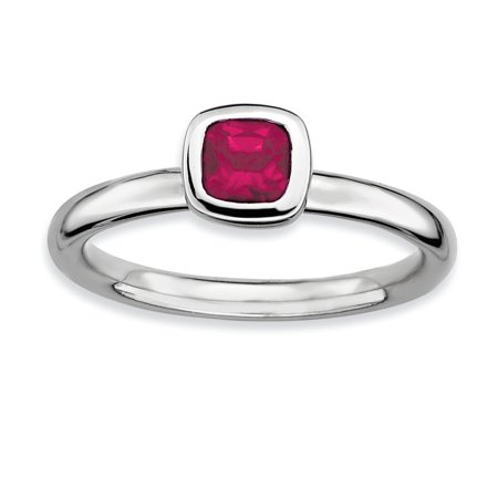 Sterling Silver Stackable Expressions Cushion Cut Created Ruby Ring Size 8 - image 3 of 3