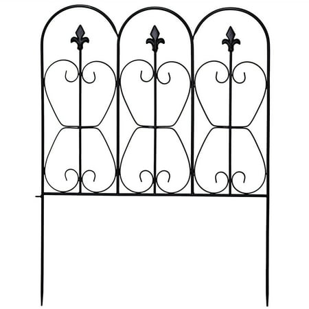 Costway 32in x 10FT Folding Decorative Garden Fence Set of 5 Coated Metal Panels ()