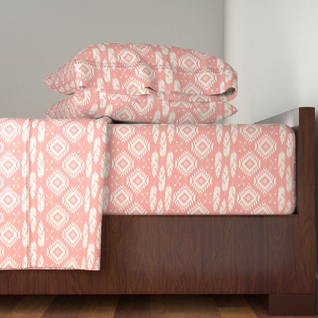 Navajo Feathers Arrows Tribal Coral 100% Cotton Sateen Sheet Set by Roostery