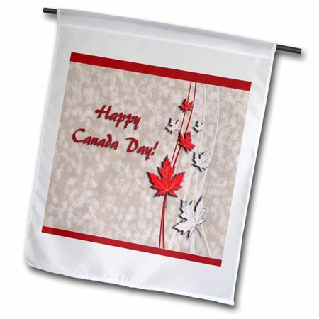 3dRose Maple Leaves, Happy Canada Day Polyester 1'6'' x 1' Garden Flag There Maple Leaf Canadian Flag