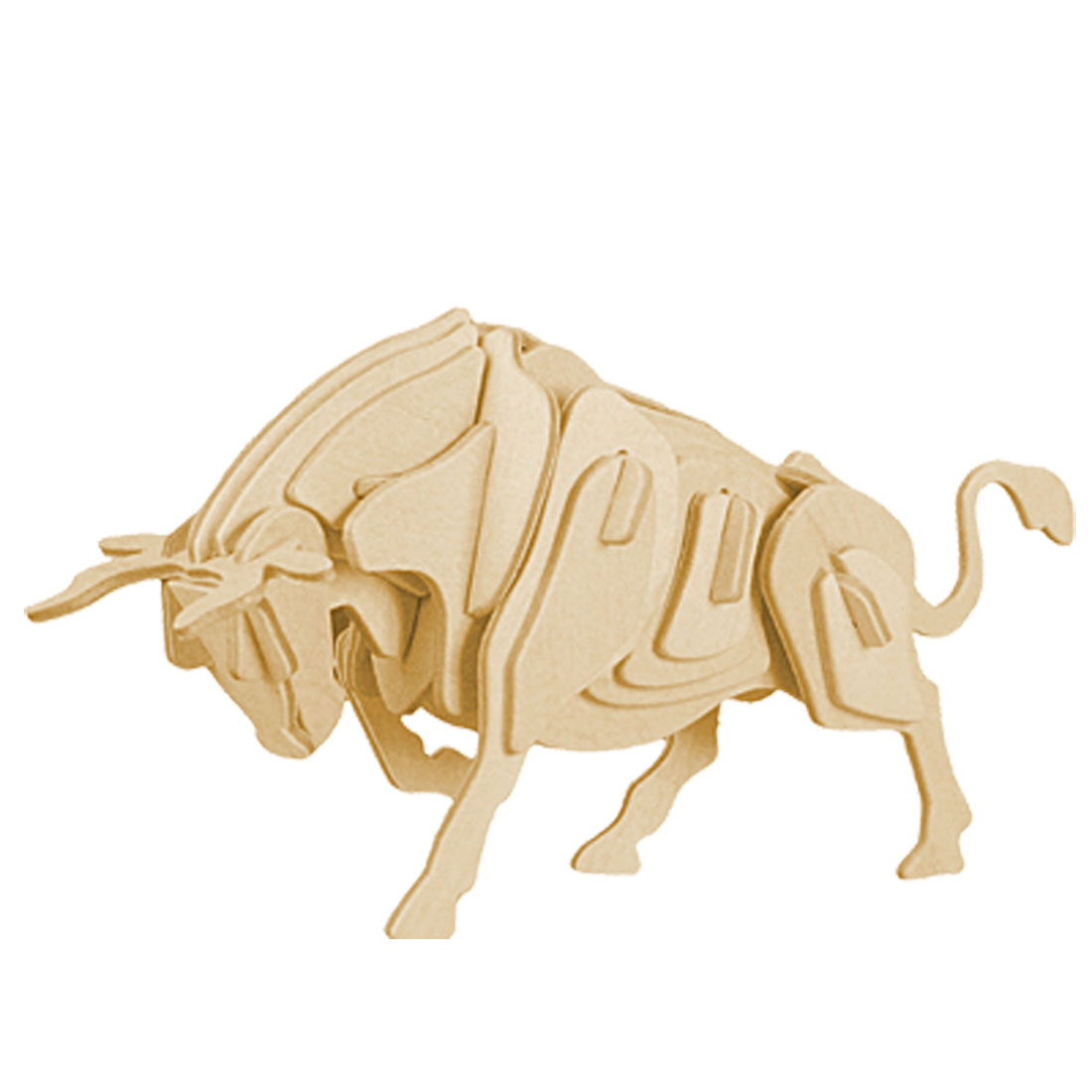 Wooden DIY 3D Bull Construction Brain Testing Puzzle Toy for