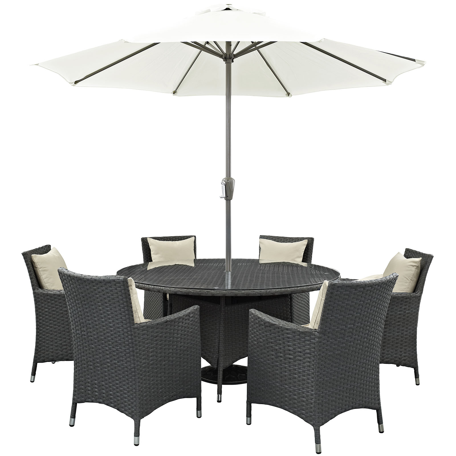 Modern Contemporary Urban Design Outdoor Patio Balcony Eight PCS Dining Chairs and Table Set, Beige, Rattan