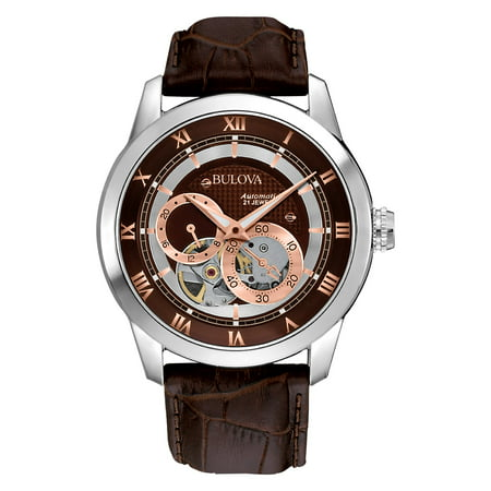 - 96A120 Mens Stainless Steel Automatic Watch with Leather Strap