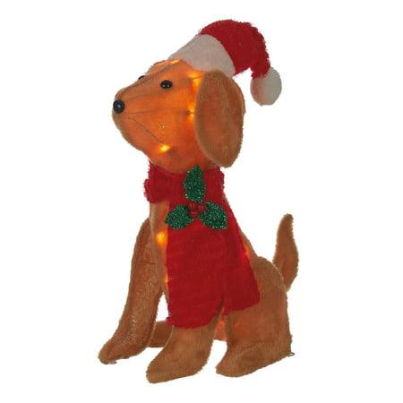 Holiday Time Light-up Outdoor Plush Dog Decoration, 20