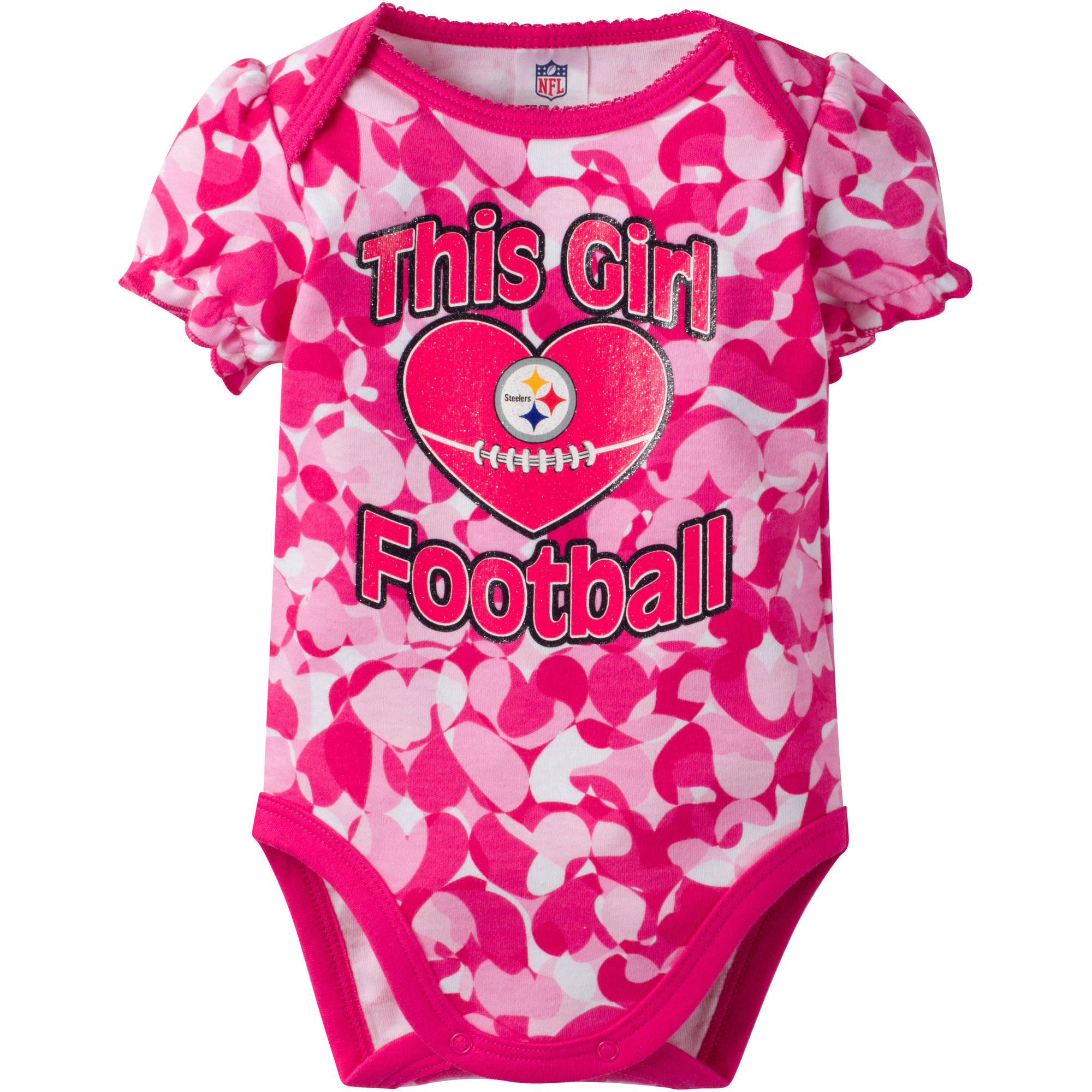NFL Pittsburgh Steelers Baby Girl Short Sleeve Heart Camo Bodysuit