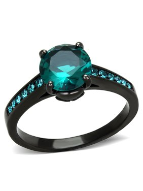 2.16Ct Blue Green Zirconia Black Stainless Steel Engagement Ring Women's Size 9