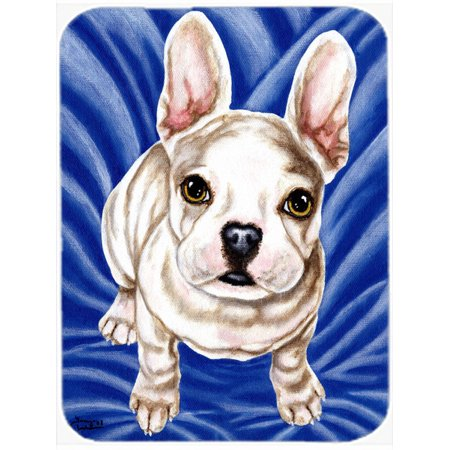 Diamond in Blue French Bulldog Glass Cutting Board Large