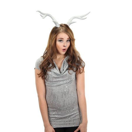 Silver Glitter Deer Antler Costume - Costume Antlers