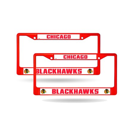 Chicago Blackhawks Red Painted Chrome Metal 2 License