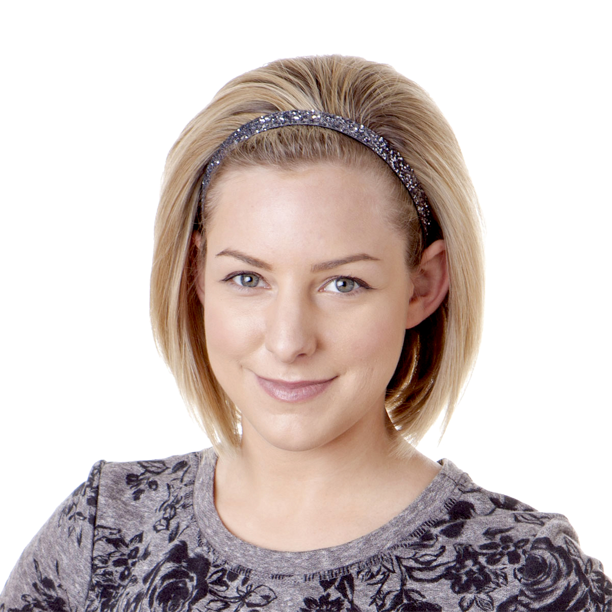 Hipsy Women's Adjustable NO SLIP Skinny Bling Glitter Headband (Gunmetal)