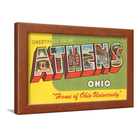 Halloween Athens Ohio (Greetings from Athens, Ohio Framed Print Wall)
